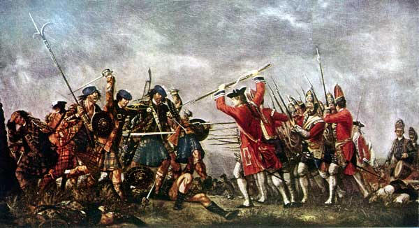 "The Highland attack on the Grenadier Company of Barrell's King's Own Royal Regiment"" by David Morier; painted in 1746 for the Duke of Cumberland, reputedly using members of the regiment and highland prisoners as models."